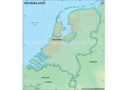 Netherlands Blank Map, Dark Green Color
