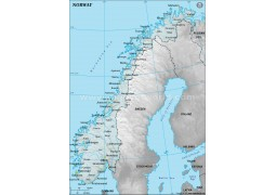 Norway Physical Map with Cities in Gray Background