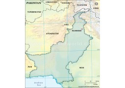 Pakistan Blank Map, Dark Green