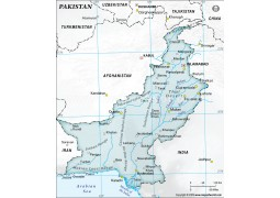 Pakistan Physical Map with Cities in Gray Color