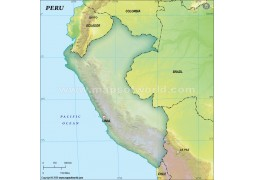 Peru Blank Map, Dark Green