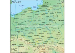 Poland Physical Map (Green Background)