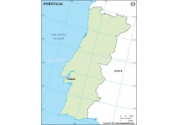Portugal Outline Map, Green
