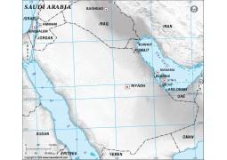 Saudi Arabia Blank Map in Gray Color