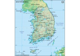 South Korea Political Map in Dark Green Background