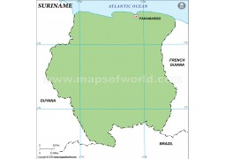 Suriname Outline Map, Green