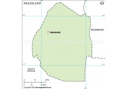 Swaziland Outline Map in Green Color