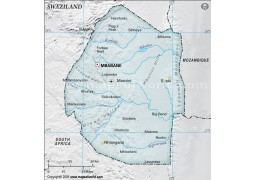 Swaziland Physical Map with Cities in Gray Color