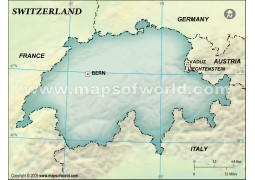 Switzerland Blank Map, Dark Green Background