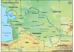 Turkmenistan Physical Map, Green