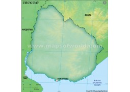 Uruguay Blank Map, Dark Green