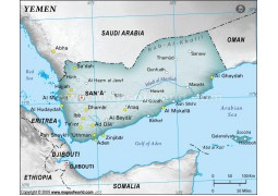 Yemen Physical Map, Gray