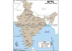 India Tier I and Tier II Cities Map Malayalam