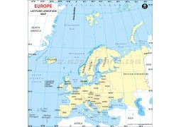 Europe Continent Latitude and Longitude Map