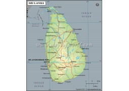 Sri Lanka Latitude and Longitude Map