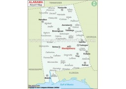 Map Of Airports in Alabama