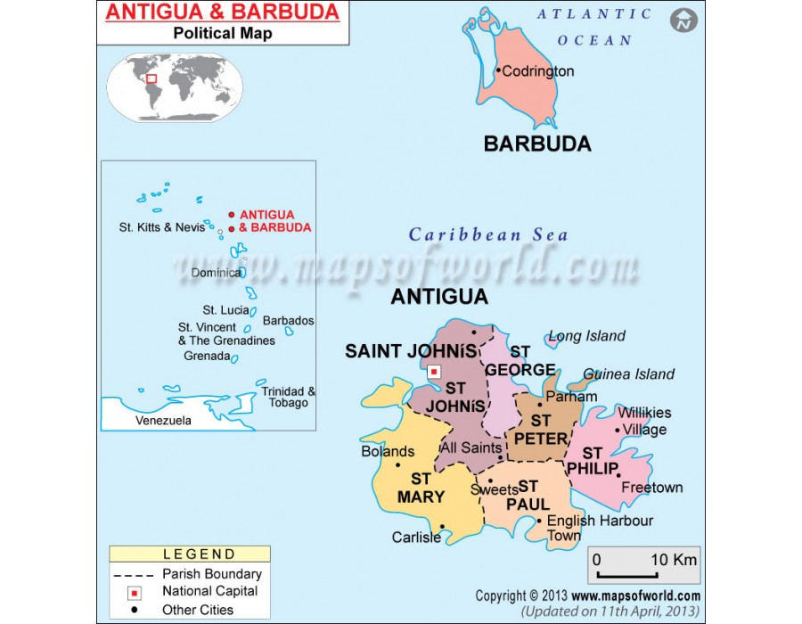 Buy Political Map of Antigua and Barbuda