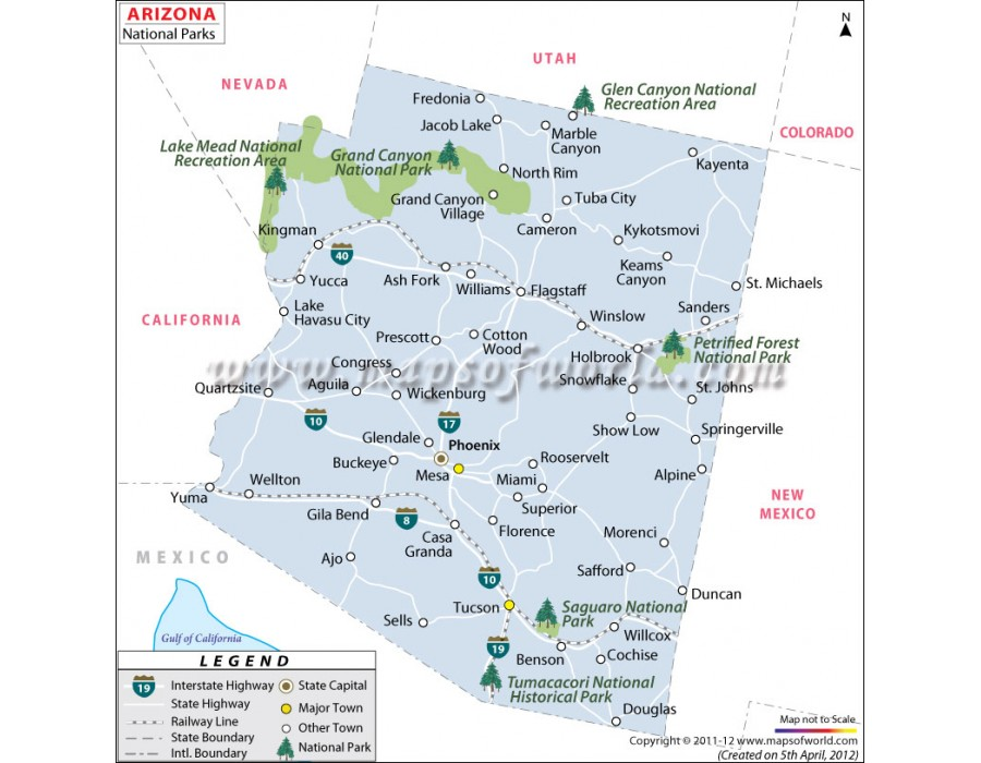 Map Of Arizona With National Parks.Buy Map Of Arizona National Parks