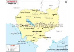 Map of Cambodia with Cities