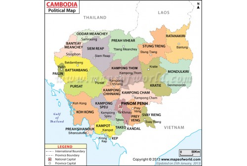 Buy Political Map of Cambodia