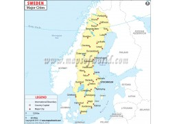 Map of Sweden with Major Cities