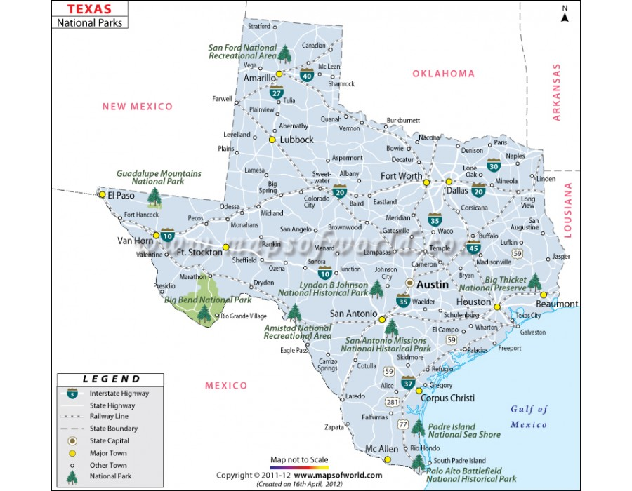 Buy Texas National Parks Map