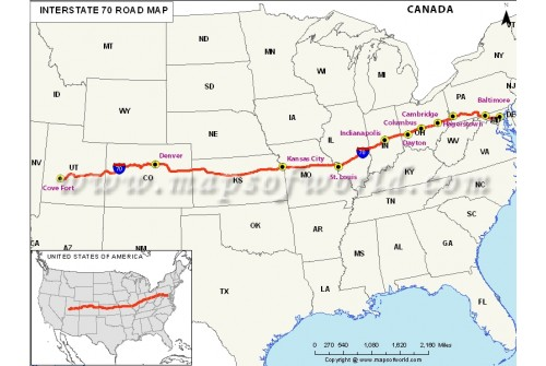 USA Interstate 70 Map