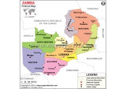 Political Map of Zambia