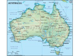Australia Map in Dark Green Color