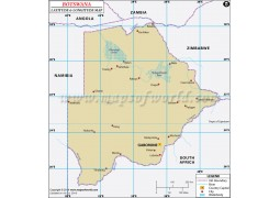 Botswana Lat Long Map
