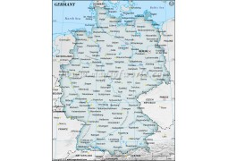 Germany Map with Cities in Gray Background