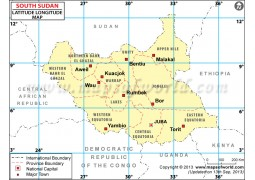 South Sudan Lat Long Map