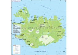 Printed Wall Map of Iceland