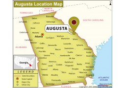 Location Map of Augusta, Georgia