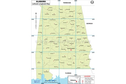 Alabama Latitude Longitude Map