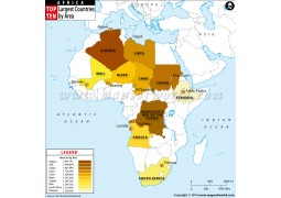 Top Ten Largest African Countries by Area Map