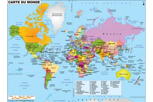 World Map in French-Carte De Monde