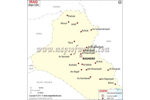 Iraq Map with Cities