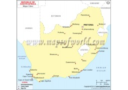 Map of South Africa with Cities