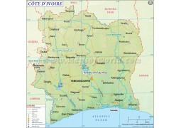 Cote d'Ivoire (Ivory Coast) Map