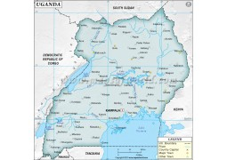 Uganda Physical Map, Gray