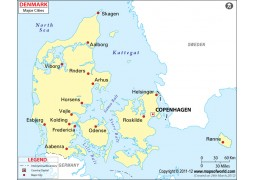 Denmark Map with Cities