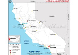 Corona Location Map, California