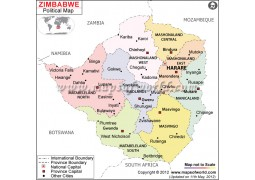 Political Map of Zimbabwe