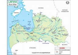 Latvia River Map