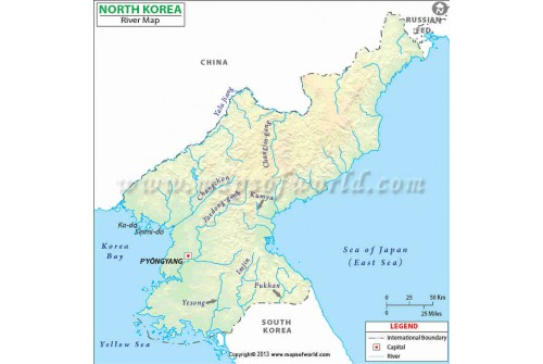 North Korea River Map