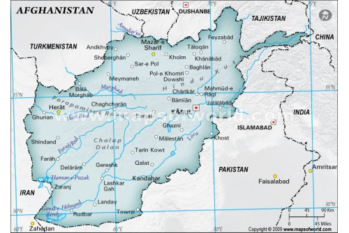 Afghanistan Physical Map with Cities in Gray Background