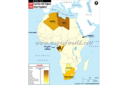 African Countries With Highest Urban Population Map