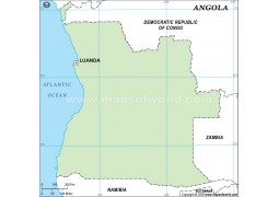 Angola Outline Map in Green Color
