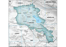 Armenia Physical Map with Cities in Gray Background